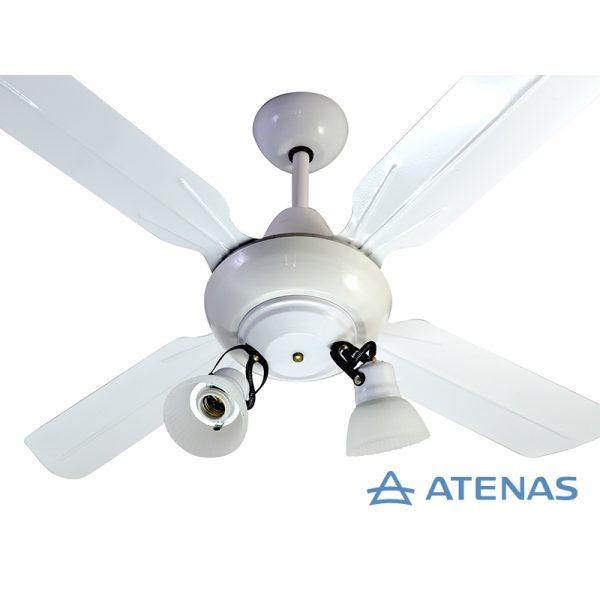Ventilador de Techo Metálico Blanco con Araña 2 Luces Móvil - Atenas