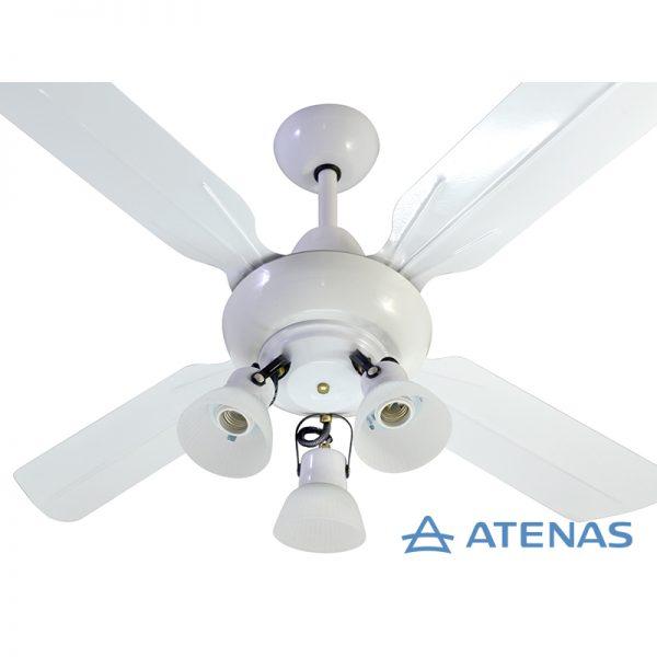 Ventilador de Techo Metálico Blanco con Araña 3 Luces Móvil - Atenas