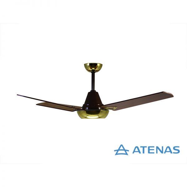 Ventilador de Techo Madera Caoba Dorado - Atenas