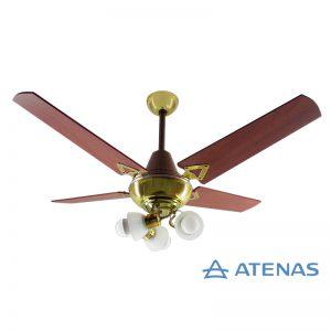 Ventilador de Techo Madera Caoba Dorado con Araña 3 Luces Móvil - Atenas