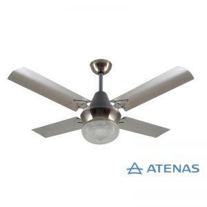 Ventilador de Techo Acero Inoxidable con Plafon Platil Led Esmerilado 1 Luz - Atenas