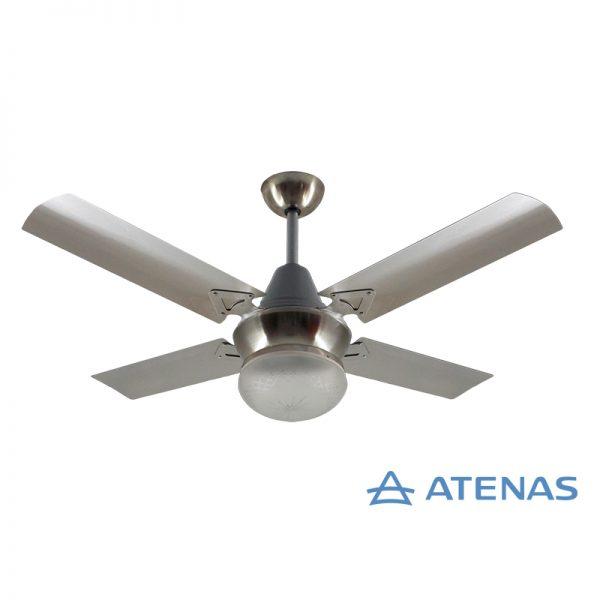 Ventilador de Techo Acero Inoxidable con Plafon Platil Led Tallado 1 Luz - Atenas