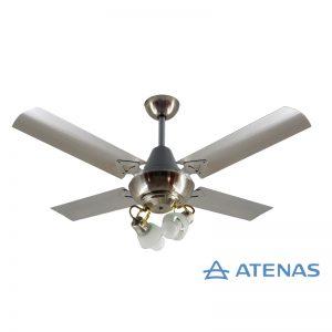 Ventilador de Techo Acero Inoxidable con 2 Luces Móvil - Atenas