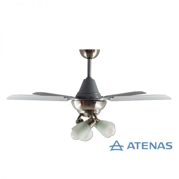 Ventilador de Techo Acero Inoxidable con 3 Luces Móvil - Atenas