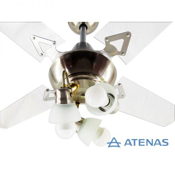 Ventilador de Techo Acrílico con Araña 3 Luces Móvil - Atenas