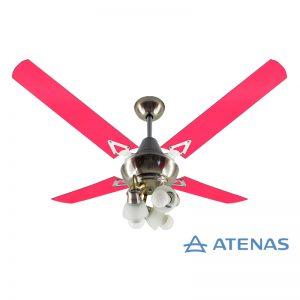 Ventilador de Techo Acrílico Fucsia con Araña 3 Luces Móvil - Atenas