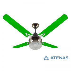 Ventilador de Techo Acrílico Verde con Plafón Platil Led Esmerilado 1 Luz - Atenas