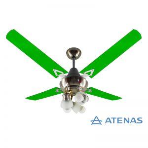Ventilador de Techo Acrílico Verde con Araña 3 Luces Móvil - Atenas