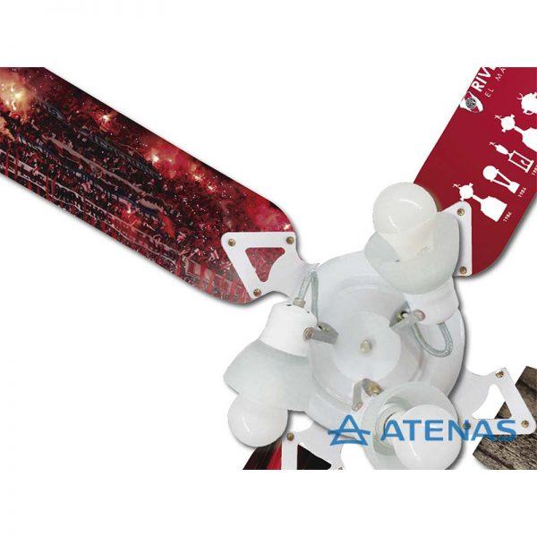 Ventilador de Techo de River Plate con Araña 3 Luces Móvil - Atenas