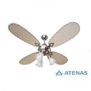 Ventilador de Techo Palas de Rattan Tipo Aceituna con Araña 3 Luces Móvil - Atenas Ventilación