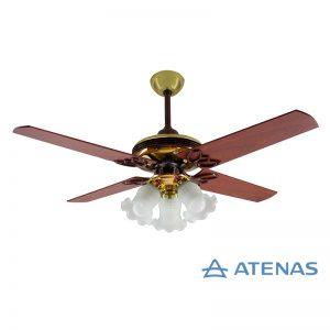 Ventilador de Techo Madera Caoba Dorado con Araña 3 Luces Fijas - Atenas