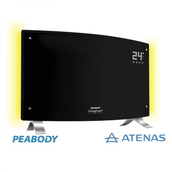 Calefactor Panel Eléctrico Peabody Digital Con Luz Negro PE-VQDL20N - Atenas